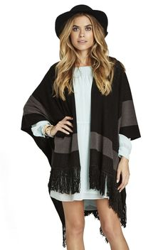 Contrast Banded Poncho Scarf
