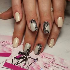 Beautiful nails 2016, Beautiful patterns on nails, Black pattern nails, Delicate nails, Evening dress nails, Evening nails, Exquisite nails, Fashion nails 2016