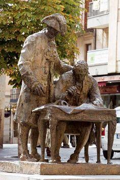 Conde de Francos y Alberto de Churriguera haciendo las trazas de la Plaza Mayor de Salamanca.