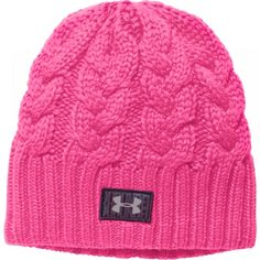Under Armour - e-shop Cable Knit Hat, Knit Beanie Hat, Pink Beanies, Pink Hat, Under Armour Women, Caps Hats, Fashion Forward, Knitted Hats, Cute Outfits