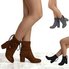 Womens #chelsea low heel #stretch faux suede #ladies lace up pull on ankle boots,  View more on the LINK: 	http://www.zeppy.io/product/gb/2/162263291143/