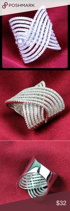 🎁White Sapphire🎁 Knuckle .925 Silver Ring White Sapphire Knuckle .925 Silver Ring - Sizes 8 & 9  New in Plastic Packaging Jewelry Rings