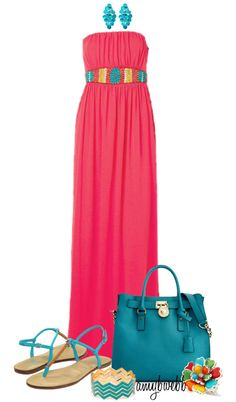 """Coral Maxi Dress Combo"" by amybwebb on Polyvore"