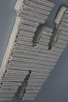 """Awesome! """"Book Letters"""" made with pages of books attached to wooden letters from a craft store."""