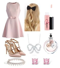 """""""Pink"""" by amy1907murray ❤ liked on Polyvore featuring Chicwish, Valentino, New Look, Palm Beach Jewelry, Roberto Coin and MAC Cosmetics"""