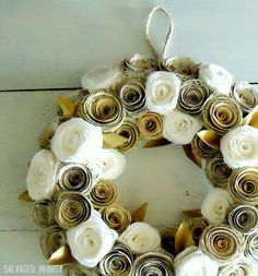 """10"""" Book Page and Coffee Filter Rolled Paper Flower Wreath. $36.00, via Etsy."""