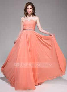 A-Line/Princess Sweetheart Floor-Length Chiffon Prom Dress With Ruffle Beading - JJsHouse Robes Quinceanera, Ruffle Beading, Evening Dresses, Formal Dresses, Bustier, Wedding Party Dresses, Dress First, Beautiful Gowns, Special Occasion Dresses