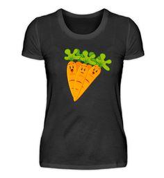 Karotte. Geschenkidee für Veganer. T-Shirt Basic Shirts, Shirt Designs, Tops, Women, Fashion, Vegans, Back Stitch, Carrots, Cotton