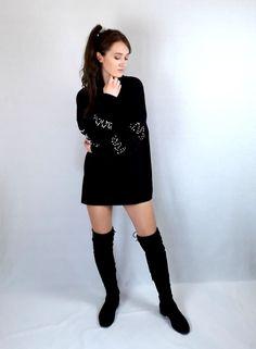 Black longline jumper Long Black Sweater, Colour Board, Black Heart, Online Fashion Stores, Long Sweaters, Fashion Black, Long A Line, Winter Christmas