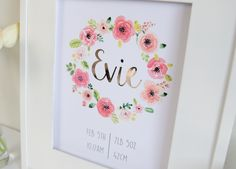 Image of Baby Custom Name Print or Birth Announcement - Rose Gold Foil and Watercolour - Floral Wreath