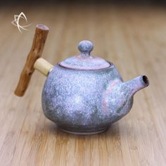Moondust Grey Bell Shaped Teapot with Wood Handle Angled View