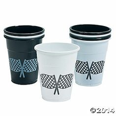 Disposable Plastic Cups with Checkered Flag Design - $8.00 for 50 pieces