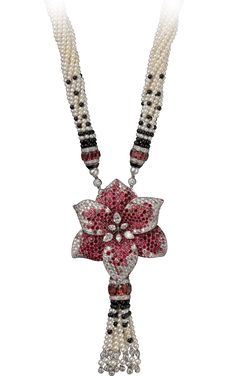HIGH JEWELRY NECKLACE  White gold, spinels, cultured pearls, onyx, diamonds The Cartier Étourdissant collection draws