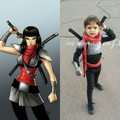 Zoey as Karai from Teenage Mutant Ninja Turtles (Shredder's daughter) custom made by my husband! This one was from Halloween last year. I've pinned a pic of my daughter and her dad dressed as well! DIY