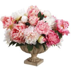 Silk Off White and Pink Peonies Arrangement Centerpiece Extra Large... ($165) ❤ liked on Polyvore featuring home, home decor, floral decor, floral arrangements, home & living, home décor, silver, silk flower centerpieces, peony flower arrangement and artificial flowers