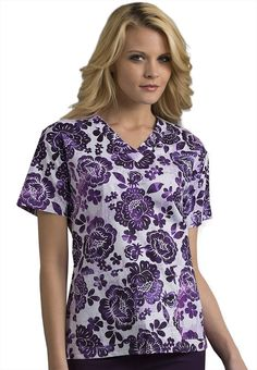 Med Couture Floral Sanctuary v-neck print scrub top. - Scrubs and Beyond  #floral #purple #print #top #scrubs #uniform #medical #nurse
