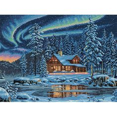 "Dimensions Gold Collection ""Aurora Cabin"" Counted Cross Stitch Kit, 16"" x 12"""