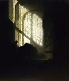Rembrandt - A Man seated reading at a Table in a Lofty Room