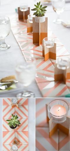 Crafting & DIY projects with washi tape #craft #DIY #washi #washitape #wedding #party #tablerunner #tablescape plenty more crafting with washi tape ideas via Hip Hip Hooray, printable & printed wedding & celebration stationery