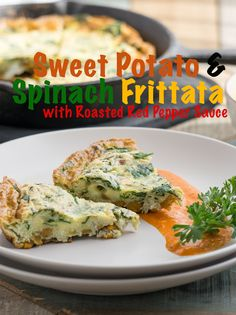Sweet Potato & Spinach Frittata With Roasted Red Pepper Sauce | Simple 'N' Spiced