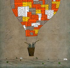 Hot air balloon art print large poster illustration 16x23. $85.00, via Etsy.