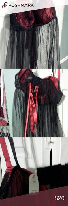 Women's lingerie Black and red mesh women's lingerie,  the back is open and ties right near the bra clip, from Lane Bryant Cacique Intimates & Sleepwear Chemises & Slips