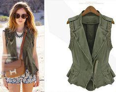European Women's Fall Winter New Fashion Army Green Sleeveless Warm Coat Jacket