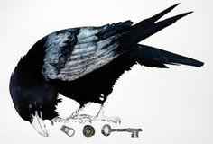 -blackbirds swam the skies, dropping endearing trinkets into my waiting hands:ceeanne.image by Sue Brown - The Bargain. Crows Ravens, Print Artist, Woodblock Print, Bird Art, Art Images, Bald Eagle, Printmaking, Illustration Art, Illustrations
