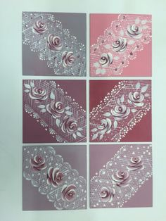 A variety of looks  that can all be created with deco arts tomato red white and black paints. By adding Vintage Roses, roses or tiny hearts each piece can look very different.
