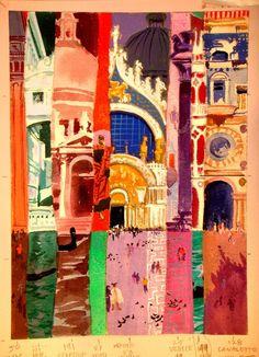 Vintage Venice Travel Poster by David Klein