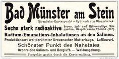 Original-Werbung/ Anzeige 1909 - RADIOAKTIVE QUELLEN / BAD MÜNSTER AM STEIN  - ca. 90 x 45 mm