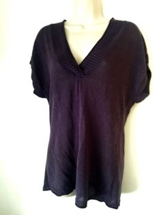 Deep Purple Linen Deep V-Neck Linen Pullover Sweater COLDWATER CREEK Size S M - http://www.ebay.com/itm/322086345275?rmvSB=true