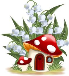 Illustration about Lily of the valley and mushroom house. Illustration of illustration, door, house - 34903329 Mushroom House, Mushroom Art, Cartoon Mushroom, Lily Of The Valley, Fabric Painting, Rock Art, Cute Drawings, Painted Rocks, Art For Kids