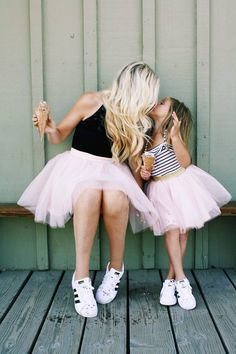 Last-Minute Mother's Day Gifts That Don't Suck - Matching Mother Daughter Outfits Adidas Superstar Sneakers White And Black Striped And Baby Pink Tulle Skirts