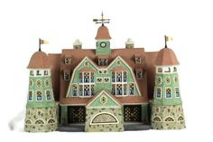 """Dept 56 Seasons Bay 1st Edition Grandview Shores Hotel Lighted Porcelain House 00998 Package includes: porcelain building, cord with bulb. Measurement: 9"""" h x 14"""" l x 7 1/2"""" w Condition: Pre-owned, inspected, no chips, no cracks, lights works, in great condition. Note: Th weather vane top piece is loose, wore out. A tiny piece of paper will hold it in place or it can be glued. Original box has shelf wear. Original box has shelf wear. Light Words, Weather Vanes, Unique Gifts For Men, Things To Buy, Diy Home Decor, Porcelain, The Unit, Seasons, Lights"""