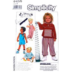 Childs Romper and Top Pattern Simplicity 8466 Hooded Top Disney Transfer Toddler Size 3 UNCUT - product images  of