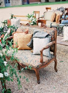 mixed vintage furniture for wedding seating