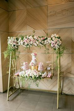Pretty In Pink Party Dessert Table Adorned with Florals via Kara's Party Ideas KarasPartyIdeas.com