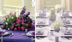 Contrasting styles of decorating with purple hues!