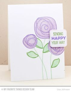 Circle Scribble Flowers, Inside & Out Stitched Rounded Square STAX Die-namics, Totally Happy - Lisa Johnson #mftstamps