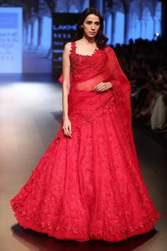 Buy Sequin embroidered lehenga with sleeveless blouse and dupatta by Anushree Reddy at Aza Fashions Indian Wedding Outfits, Bridal Outfits, Indian Outfits, Bridal Dresses, Indian Weddings, Wedding Dress, Indian Attire, Red Lehenga, Lehenga Choli