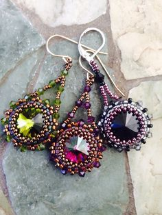 5 Awesome Beaded Swarovski Rivoli Earrings Tutorials ~ The Beading Gem's Journal