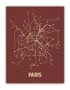 A modern graphic interpretation of the Paris mass transit system. Artwork based on the metro and RER lines.    18 x 24 Screen Print  French Papers