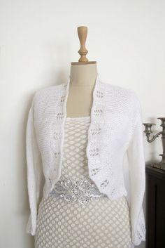 White Bridal Bolero  Wedding Shrug Boleros by crochetbutterfly