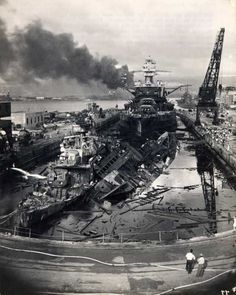 Attack on Pearl Harbor. December wrecked destroyers USS Downes and USS Cassin in Drydock One at the Pearl Harbor Navy Yard, soon after the end of the Japanese air attack. The Naval History and Heritage Command : Pearl Harbor Day, Pearl Harbor Attack, Pearl Harbor 1941, World History, World War Ii, Uss Pennsylvania, Uss Arizona, Iwo Jima, Interesting History