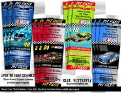 Nascar birthday invitation templates printable nascar invitations nascar party invitation ticket style printable and customized filmwisefo Choice Image