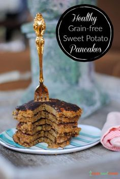 Want pancakes but can't eat grains or gluten? Here's a recipe for grain-free sweet potato pancakes that's chock-full of healthy real foods. These flourless pancakes are made with sweet potatoes, banana, eggs, flaxseed and coconut flour – the perfect paleo breakfast or pancake option for those who don't eat grains. #grainfree #grainfreeliving #paleopancake