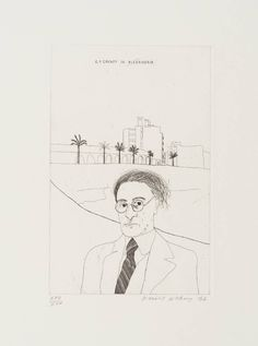 David Hockney (born 1937) -  Portrait of Cavafy in Alexandria From Illustrations for Fourteen Poems from C.P. Cavafy Date 1966
