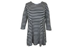 Comfy USA Diagonal Cut Tunic Top--Black + White Stripe