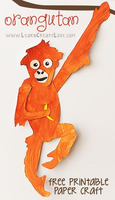 Orangutan Printable Craft | LearnCreateLove.com